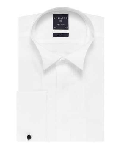 Profuomo Smoking Hemd - Klassisch - Weiß - Slim Fit - Twill - Double Cuff (1)